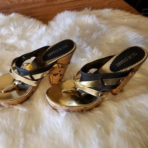 Pre-Owned Sexy Colin Stuart Platform Thong Sandals